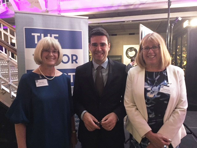 From left to right: Ms Patsy Kane OBE MA, Executive Headteacher (Sep 2014 – Aug 2019), Andy Burnham (Mayor of Greater Manchester), Liz Hole (Academy Headteacher at Whalley Range 11-18 High School)