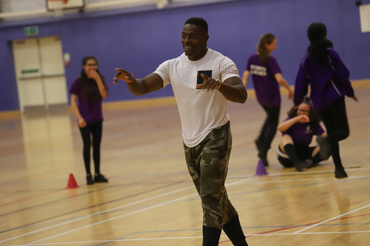 Harry Aikines-Aryeetey teaches sprint training session with our Sports Leaders