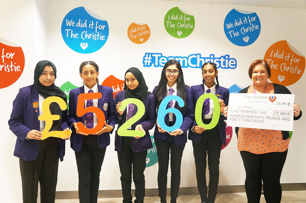 Whalley Range staff and students raised £5,260 for The Christie during the 2017/18 academic year