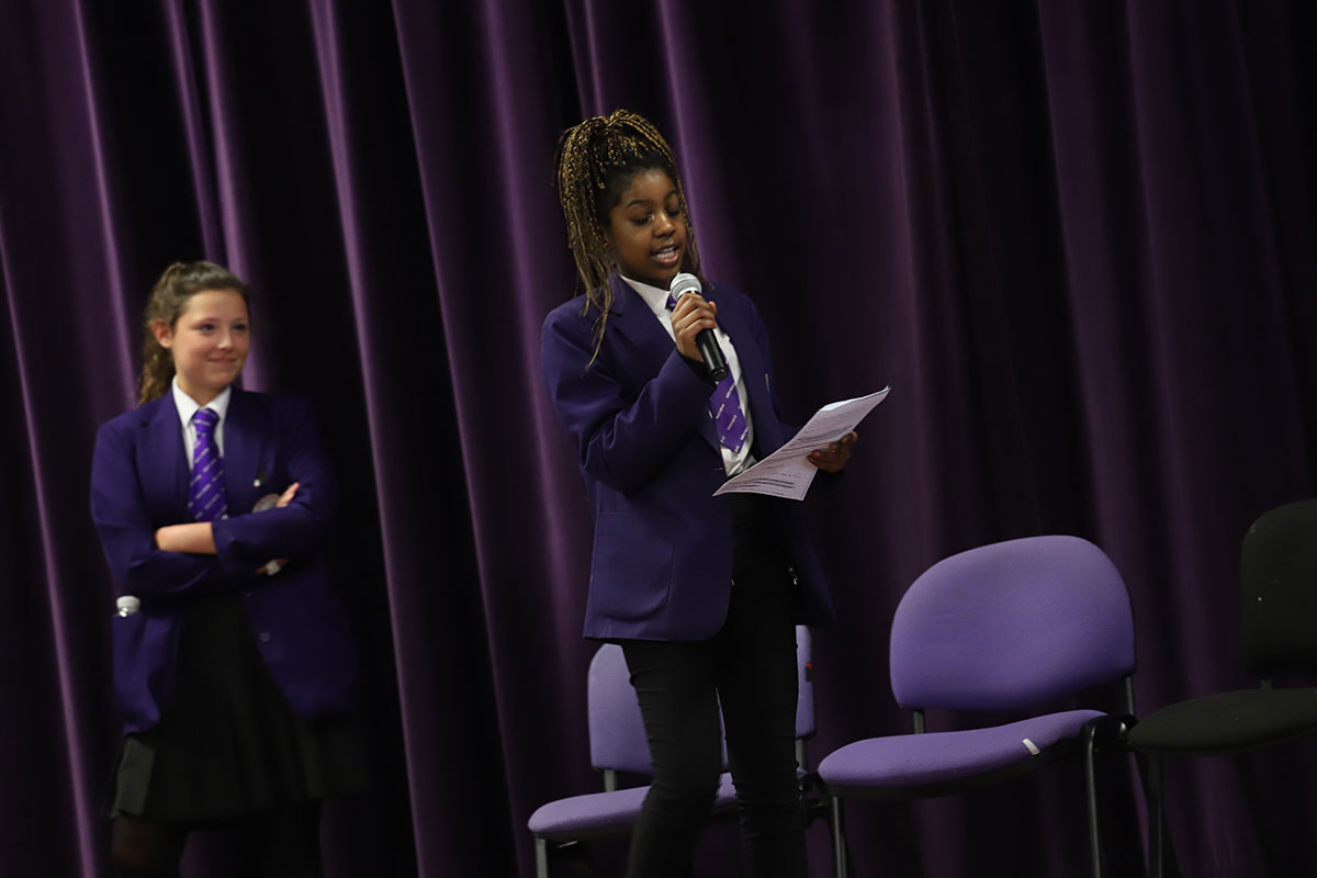 Students practice their oracy skills as part of the 2018 Shakespeare by Heart event