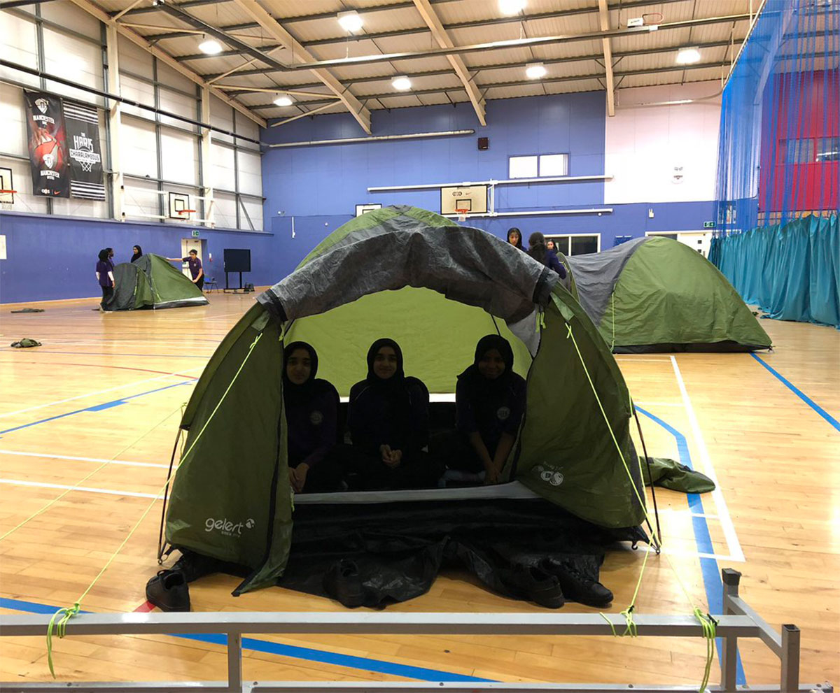 Our DofE student cadets building tents as part of Deep Learning Day 2018