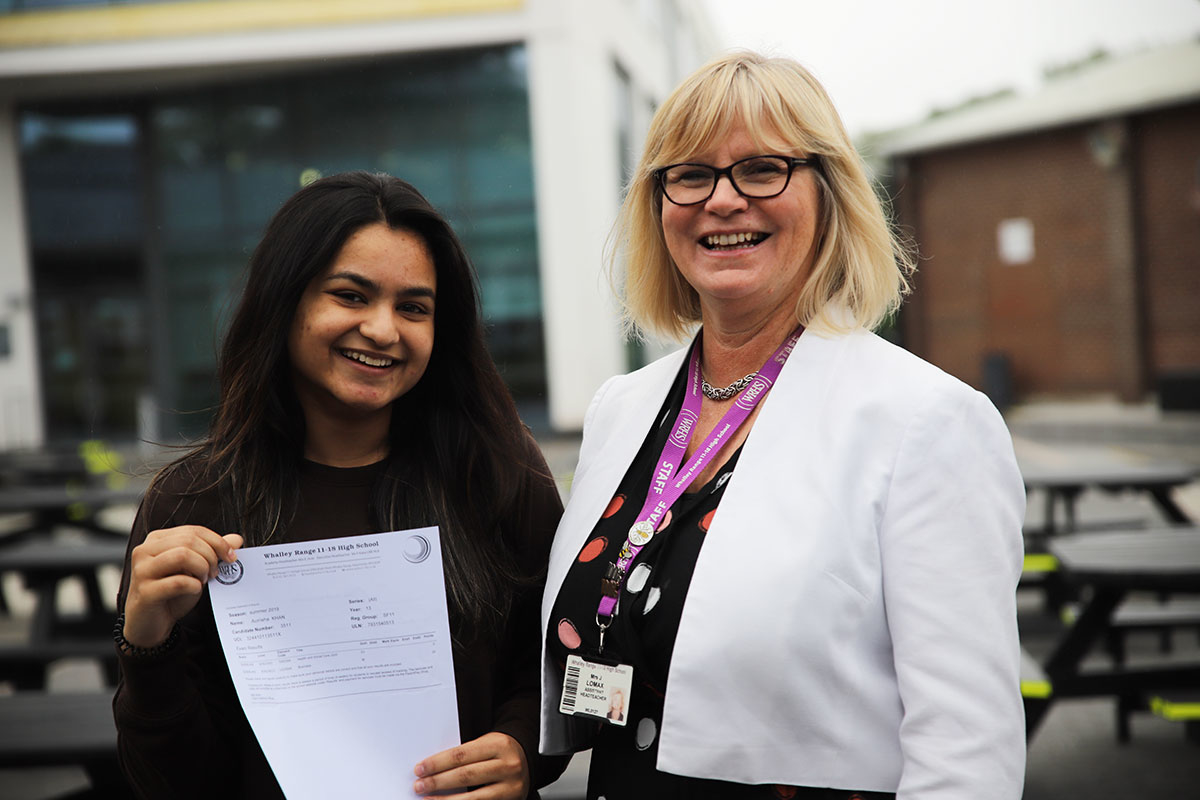 Aurrisha (left) celebrated her fantastic results on A Level Results day 2019 with Mrs J. Lomax, Head of Sixth Form (Sep 2018 - Aug 2020)