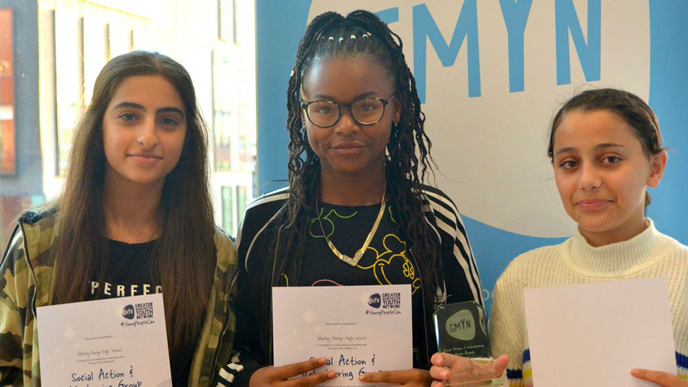Year 8 students claimed the 'Social Action' award at the Greater Manchester Youth Network Awards in 2019