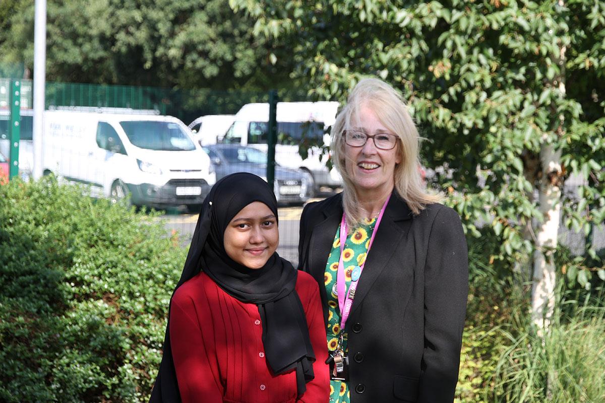 Mrs J. Fahey, Academy Headteacher, celebrates GCSE Results Day 2021 with students