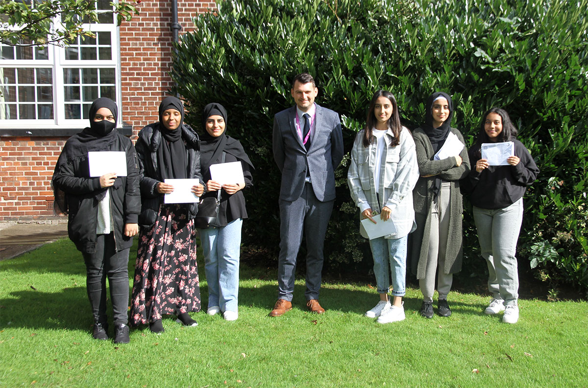 Mr J. Atkinson, Head of Sixth Form, celebrates Sixth Form Results Day 2021 with students
