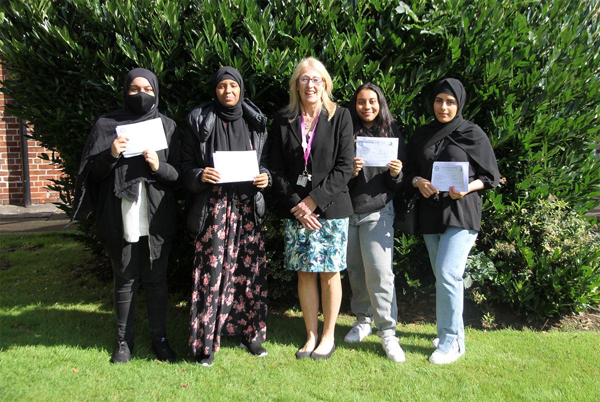 Mrs J. Fahey, Academy Headteacher, celebrates Sixth Form Results Day 2021 with students